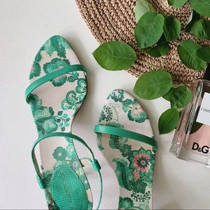 BURBERRY Green Floral Embossed Heeled Sandals